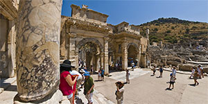 Library of Celsus' façade and the Augustus' gate at Ephesus