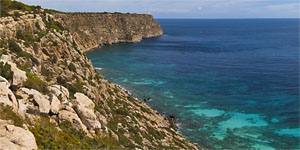 The solitude of the rugged east coast of Formentera